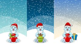 Christmas gift and toy banner set. Present boxes with bow and ribbon, santa bag with candy cane, plush bear and rabbit. Snow globe, rocking horse and clown Royalty Free Stock Photography