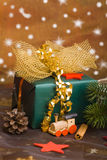 Christmas gift with toy train Royalty Free Stock Images