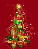 Christmas gift tree with red background vector illustration