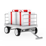 Christmas gift trolley Royalty Free Stock Image