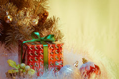 Christmas gift under christmas tree Stock Images