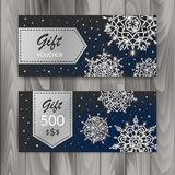 Christmas Gift Voucher Card Set. Template with shiny snowflakes. Vector illustration stock illustration