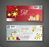 Christmas Gift Voucher with 50% discount offer, flower, golden s. Tars and gift boxes for Festival celebration concept royalty free illustration