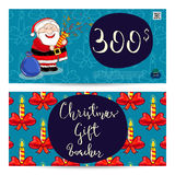 Christmas Gift Voucher with Prepaid Sum Template. Christmas gift voucher template. Gift coupon with Xmas attributes and prepaid sum. Cute snowman, wrapped gifts Stock Photography