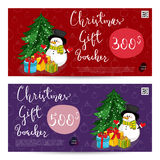 Christmas Gift Voucher with Prepaid Sum Template. Christmas gift voucher template. Gift coupon with Xmas attributes and prepaid sum. Cute snowman, wrapped gifts Royalty Free Stock Photography