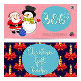 Christmas Gift Voucher with Prepaid Sum Template. Christmas gift voucher template. Gift coupon with Xmas attributes and prepaid sum. Cute snowman, wrapped gifts Stock Photo