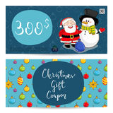 Christmas Gift Voucher with Prepaid Sum Template. Christmas gift voucher template. Gift coupon with Xmas attributes and prepaid sum. Cute snowman, wrapped gifts Stock Images