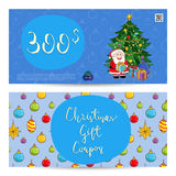 Christmas Gift Voucher with Prepaid Sum Template Royalty Free Stock Photo