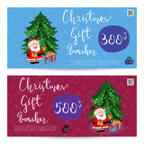 Christmas Gift Voucher with Prepaid Sum Template Stock Image