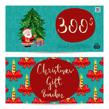 Christmas Gift Voucher with Prepaid Sum Template. Christmas gift voucher template. Gift coupon with Xmas attributes and prepaid sum. Santa, gifts, christmas tree Stock Photos