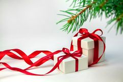 Christmas gift in white box with red ribbon on light background with fir tree. New year holiday composition. Copy Space For Your T Stock Images