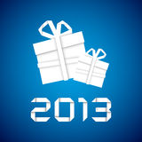 Christmas gift from white paper, new year card. Blue background vector illustration