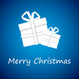 Christmas gift from white paper, new year card. Blue background stock illustration