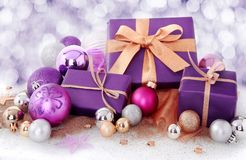 Christmas gift in winter snow stock images