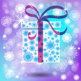 Christmas gift with winter vector background. Royalty Free Stock Photos