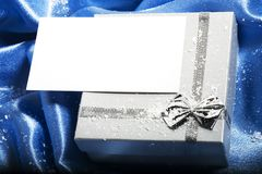 Christmas Gift With Blank Card Royalty Free Stock Photo