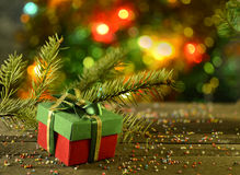 Christmas Gift With Blurred Background Stock Image