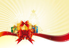 Christmas Gift With Red Bow Stock Photos