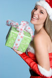Christmas Gift Woman. Beautiful woman holding christmas gift Stock Photography