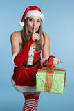 Christmas Gift Woman. Beautiful woman holding christmas gift Stock Image