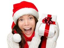 Christmas gift woman isolated stock photography