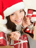 Christmas gift woman shopping stock images
