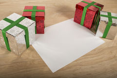 Christmas Gift in wood Background Stock Photo