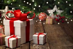 Christmas gift wooden floor bokeh background royalty free stock images