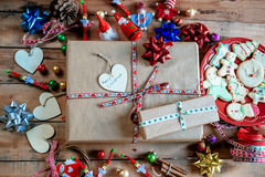 Christmas gift on wooden table Stock Photography