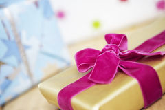 Christmas Gift Wrapped With Velvet Bow Stock Images