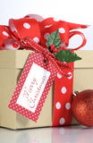 Christmas gift wrapping with brown kraft gift box and red and white polka dot ribbon Stock Images