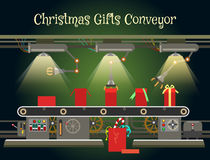 Christmas gift wrapping machine conveyor stock illustration