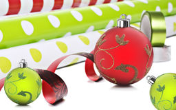 Christmas gift wrapping paper and decorarions Royalty Free Stock Image