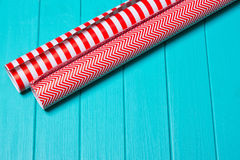 Christmas Gift Wrapping Party Time with Colorful Paper, Ribbon Bows, Scissors a Royalty Free Stock Photos