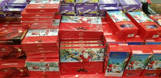 Christmas gift wrapping sweets in the supermarket royalty free stock image