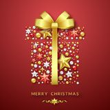 Christmas giftbox background with Shining bow, stars and colorful balls. Merry Christmas card illustration on red. Christmas giftbox background with Shining Royalty Free Stock Photos