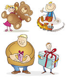 Christmas gifts. Cartoon vector illustration of people with christmas gifts Royalty Free Stock Photography