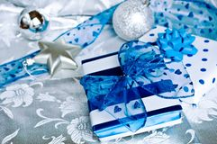Christmas gifts. Christmas theme with blue and white gifts Stock Image