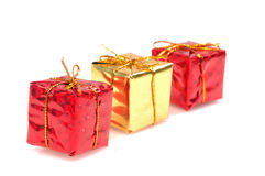 Christmas gifts. Isolated on white background Stock Photos