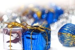 Christmas gifts. Gifts over nice bokeh background Royalty Free Stock Images