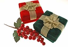 Christmas gifts. In red and green boxes Stock Image
