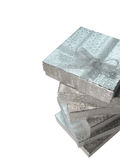 Christmas gifts. Silver gift boxes with ribbon Royalty Free Stock Photo