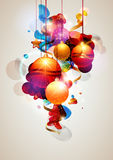 Christmas gifts. Christmas balls and gifts of different color stock illustration