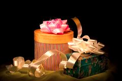 Christmas gifts. Christmas or other holiday gifts on dark background stock images