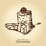 Christmas gifts. Hand drawn vintage christmas gifts for xmas design Stock Photography