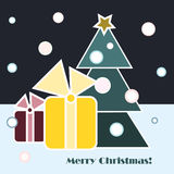 Christmas Gifts. And Christmas tree on dark sky and blue snow background stock illustration