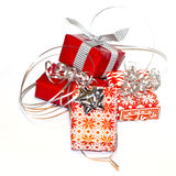 Christmas gifts. Pile of christmas gifts wrapped in red paper stock photography