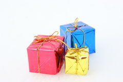 Christmas gifts. In the snow, Merry Christmas royalty free stock photos