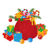 Christmas gifts. Santa's sack with gifts and boubles. Vector illustration royalty free illustration