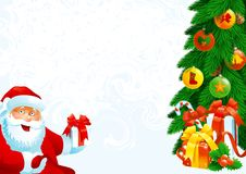 Christmas gifts. Illustration of Santa Claus, christmas fir tree with baubles and gift boxes on abstract background Royalty Free Stock Images